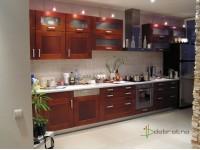 Кухня на заказ с фасадами из ольхи в цвете яблоня локарно  - 1