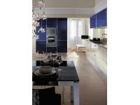 Синяя кухня - пластик в алюминиевом профиле Т-образном профиле (8)