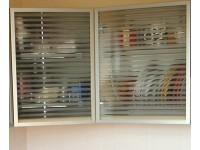 """фасад - стекло матированное """"Флутс"""" в алюминиевой узкой рамке"""