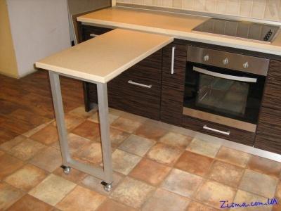 Передвижной столик для кухни на направляющей