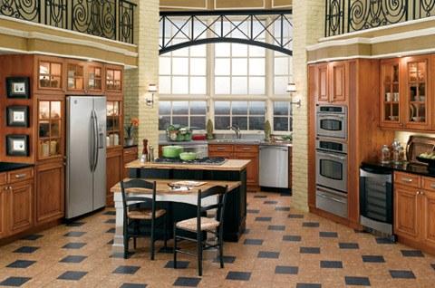 Пол плитка на кухне