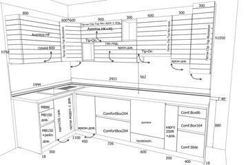 эскиз с размерами для дальнейшей деталировки кухни