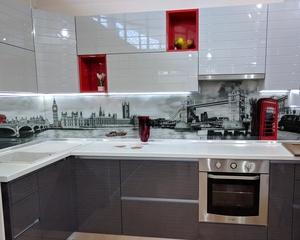 кухня угловая без ручек с профилем Gola Volpato